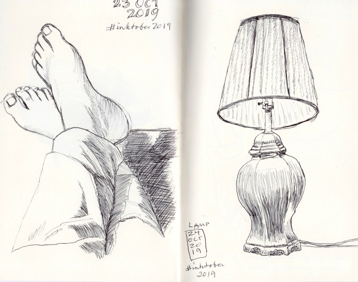 Black and white inkdrawings of bare feet and a lamp, drawn by Kit Dunsmore