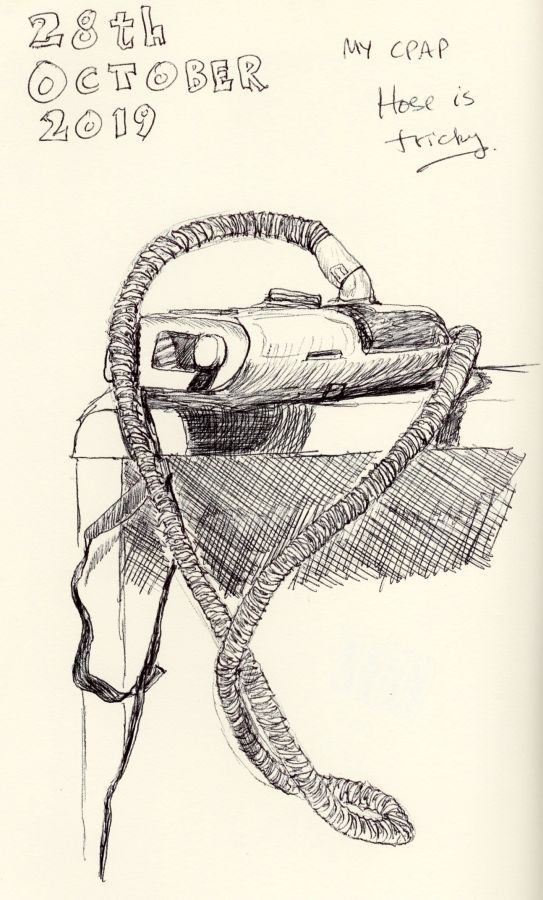Black and white drawing of a CPAP machine. Ballpoint pen sketch by Kit Dunsmore