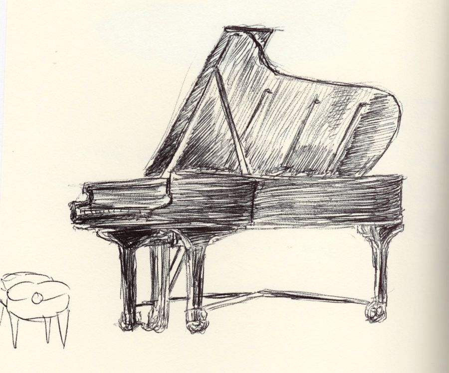 Grand piano drawn with ballpoint pen. Sketch by Kit Dunsmore.