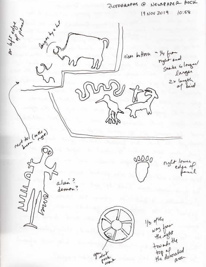 Blank and white diagrams of petroglyphs on Newspaper Rock in Utah. Drawn by Kit Dunsmore