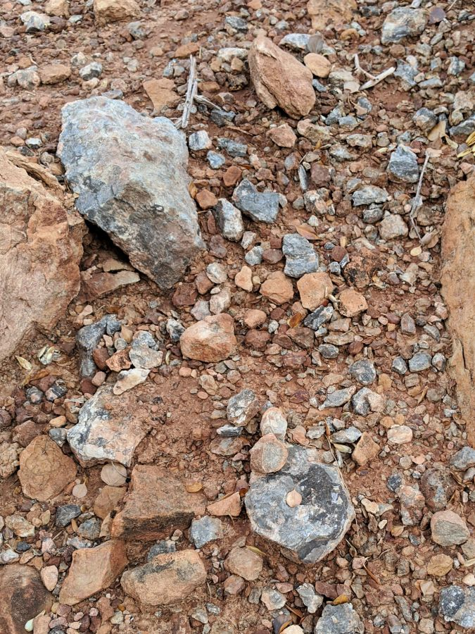 Blue-gray rocks scattered across a red dirt ground. Photo by Kit Dunsmore