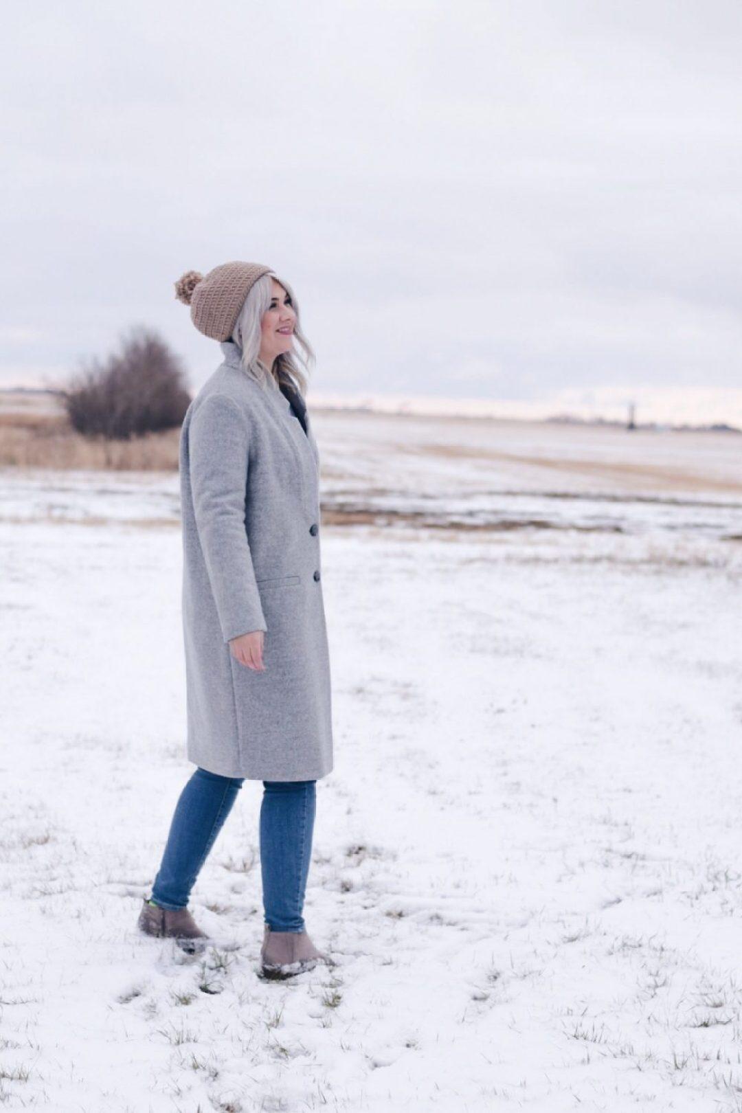 Saskatchewan long grey winter jacket