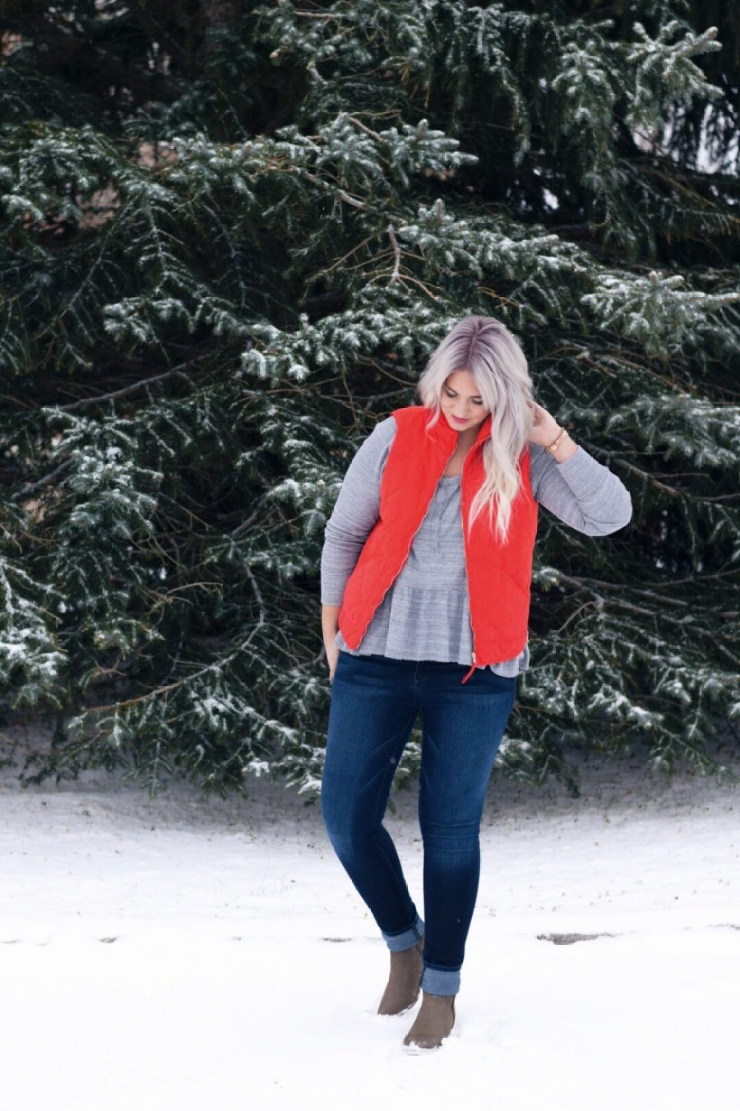 Red puffer vest winter outfit