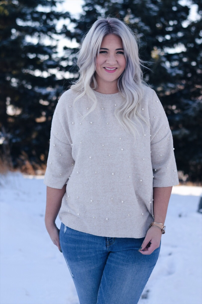 Pearl stud winter sweater