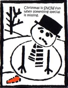Snowman Linocut