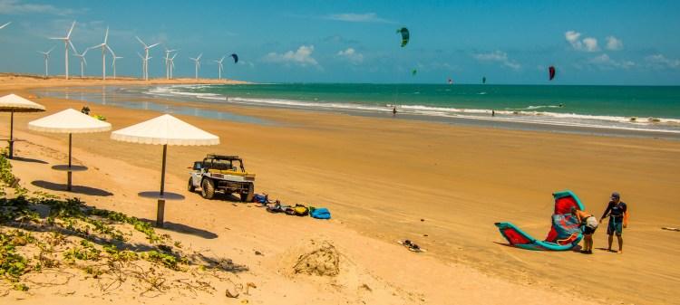 La plage d'icarai, spot de kitesurf, 180 km de Fortaleza