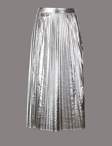 M&S metallic pleated a-line skirt
