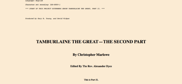 Tamburlaine edited by Dyce