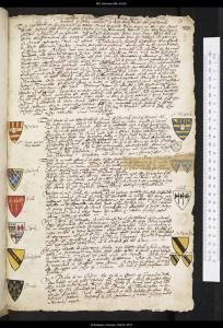 A page of writing. There are several coat of arms depicted in the margins, including the coat of arms inherited by William Shakespeare.