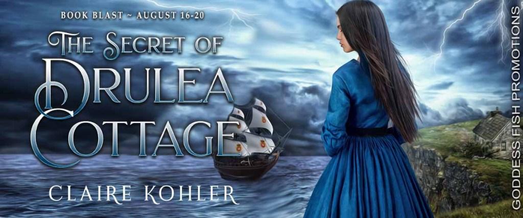 Goddess Fish book tour banner for The Secret of Drulea Cottage