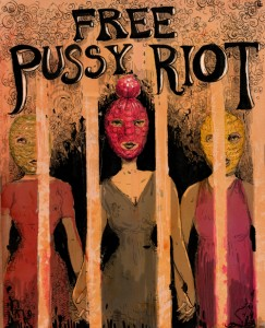 Free Pussy Riot poster -- shows three women wearing balaclavas, hands intertwined, behind bars.