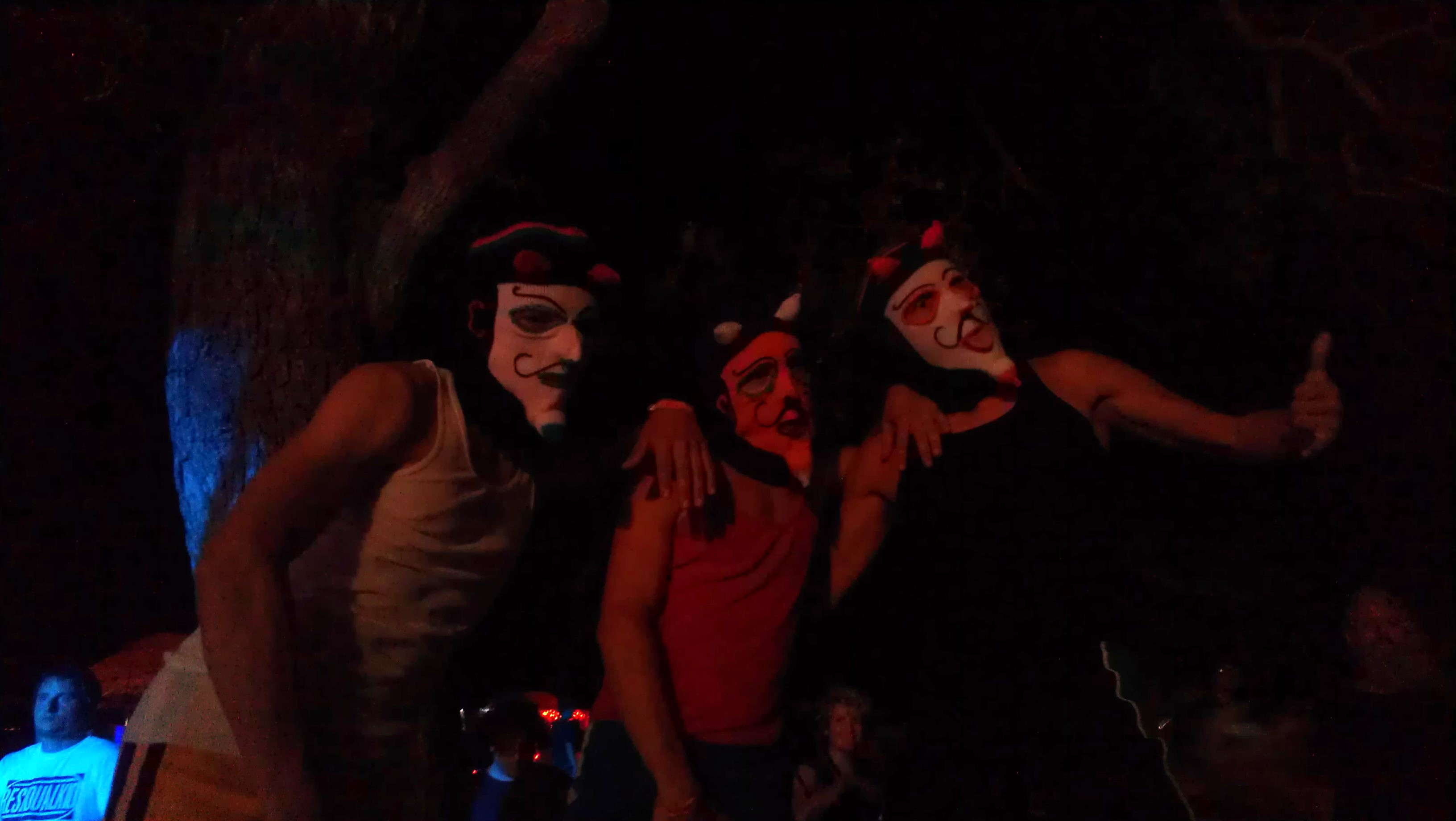 Three members of Flam Chen in Devil Mask