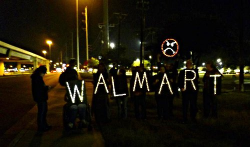 WALMART & a frowning Walmart face in lights
