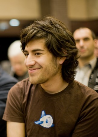 Aaron Swartz, scene in profile, smiles in this Dec. 13, 2008 photograph taken at a Creative Commons event. (Wikimedia Commons / Fred Benenson)