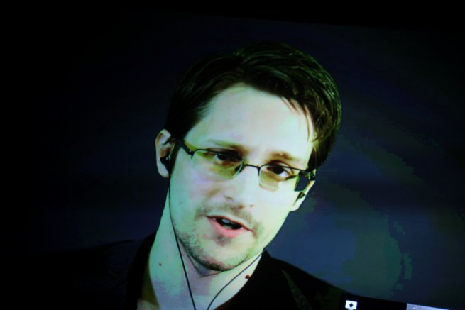 Edward Snowden appears via video conference on a projector screen as he speaks to the International Students for Liberty Conference at the Marriott Wardman Park Hotel in Washington, D.C. on Feb. 13, 2015. (Flickr / Gage Skidmore)