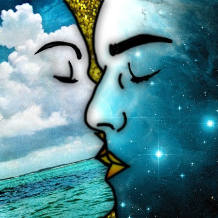 """Lovers' Kiss"" - Psychedelic art by Eugenia Loli. Two human faces, one made of ocean and the other of stars, share a passionate kiss. (Flickr / Eugenia Loli)"
