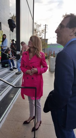 "In this March 11, 2016 photograph, former Texas state senator and gubernatorial candidate Wendy Davis arrives at the Zach Theatre in Austin, Texas for the first SXSW screening of the documentary ""Trapped."" (Kit O'Connell)"