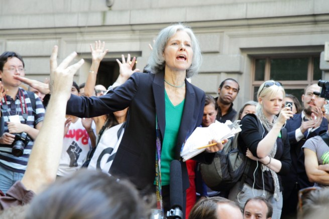 In this Sept.17, 2012 photograph,  Dr. Jill Stein speaks during a demonstration on Bowling Green, New York City, at the 1 year anniversary of the Occupy Wall Street movement. (Flickr / Paul Stein)