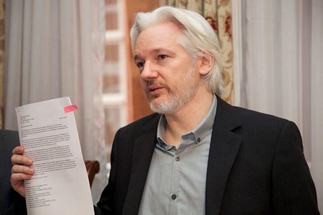 Julian Assange in the Ecuadorian Embassy in London on Aug. 18, 2014. (Wikimedia Commons / Cancillería del Ecuador)