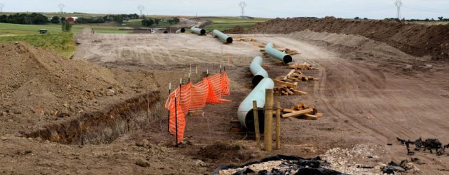A Dakota Access Pipeline construction site in Campbell, South Dakota. (Flickr / Lars Plougmann)