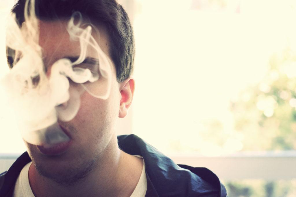 A person exhales a cloud of cannabis smoke. May 8, 2012. (Flickr / Rafael Castillo)