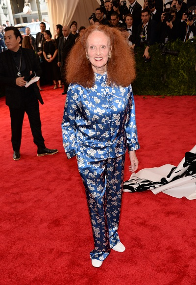 "NEW YORK, NY - MAY 04: Grace Coddington attends the ""China: Through The Looking Glass"" Costume Institute Benefit Gala at Metropolitan Museum of Art on May 4, 2015 in New York City. (Photo by Kevin Mazur/WireImage)"