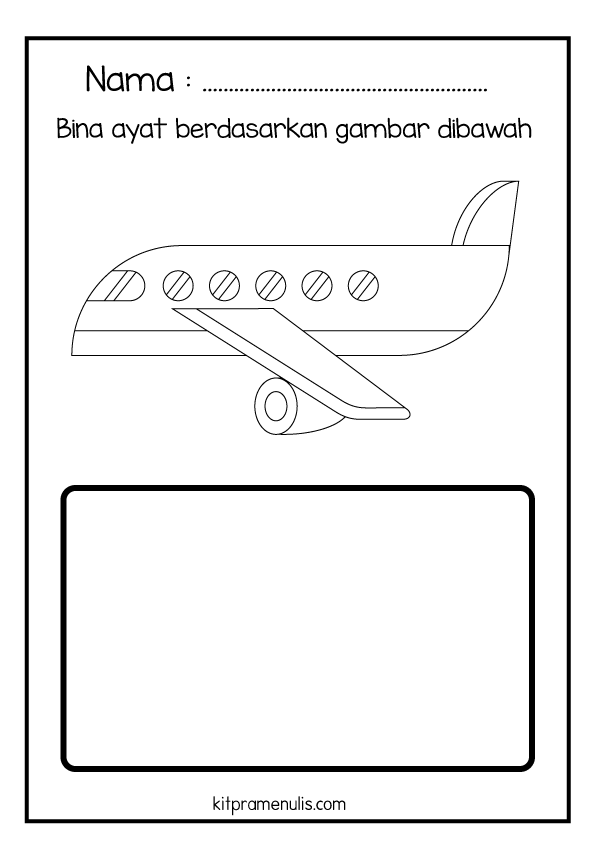 1-1 Lembaran Kerja Pendidikan Khas BM   Bina Ayat Mudah Tema Kapal Terbang
