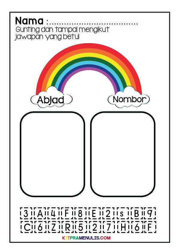 11111 Lembaran Kerja Versi Grafik Cantik   Gunting Tampal Abjad Dan Nombor