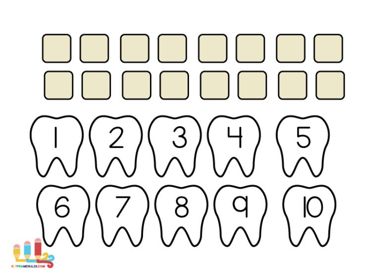 x Lembaran Kerja Kanak-Kanak | Kira Nombor 1 Hingga 10 Tema Gigi