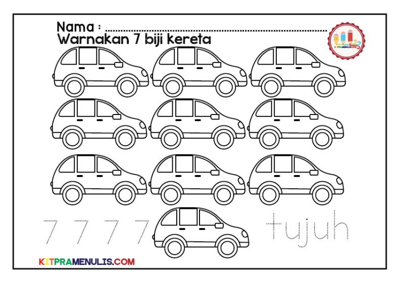 Warna-kereta-Nombor-1-10-01 Lembaran Kerja Saya Pandai Kira 1 Hingga 10 Tema Kereta