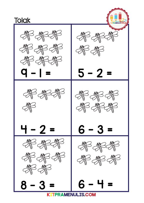 Latihan Matematik Operasi Tolak PrasekolahKitPraMenulis