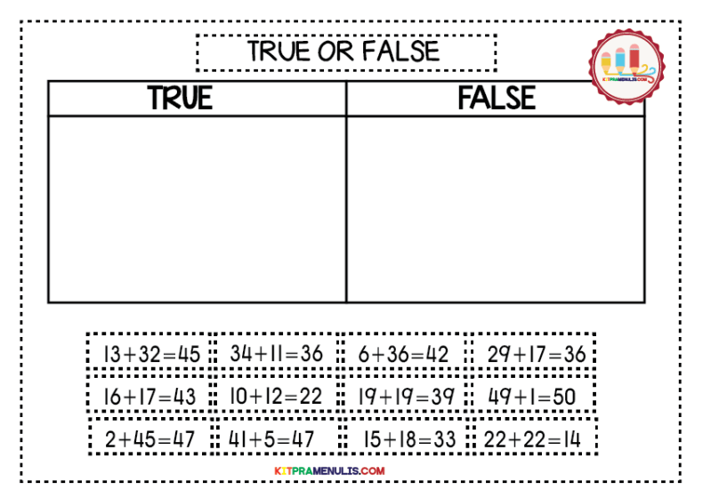 Mini-Worksheet-1-50True-Or-False-01 Mini Worksheet Mathematic I Can Count 1 To 50