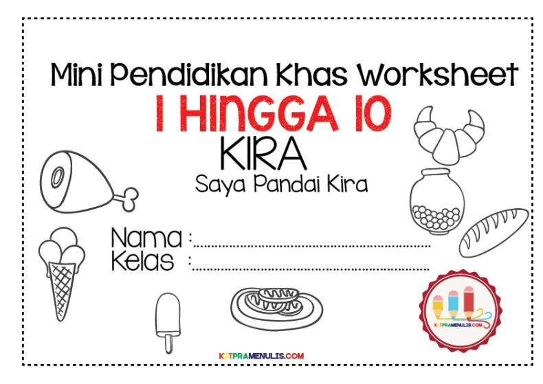Saya-Pandai-Kira-1-10-Tema-makanan-01 Mini Worksheet Pendidikan Khas Operasi Tolak Tema Makanan