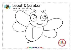 Warna-nombor-1-hingga-10-tema-lebah-02 Warna nombor 1 hingga 10 tema lebah-02