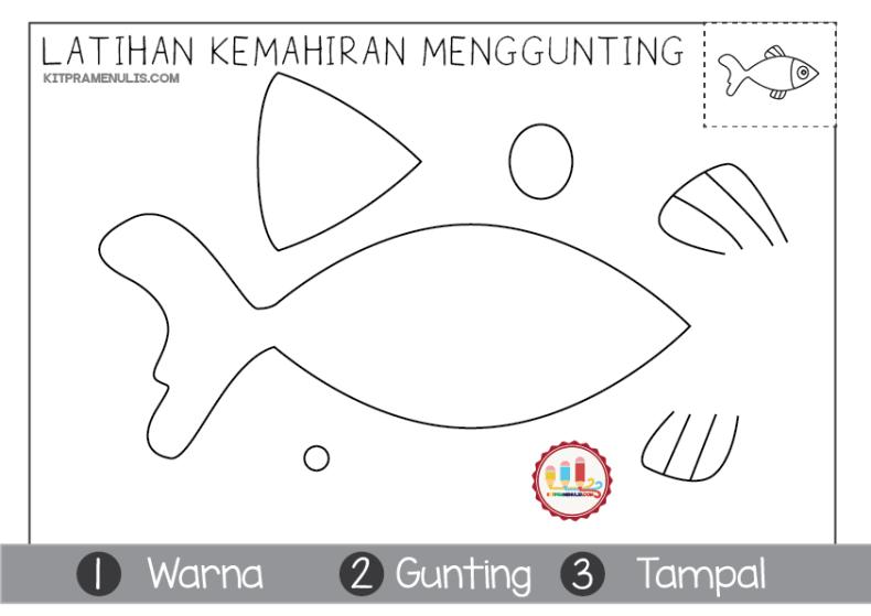 latihan-kemahiran-menggunting-ikan-01 Latihan Kemahiran Menggunting Tema Ikan