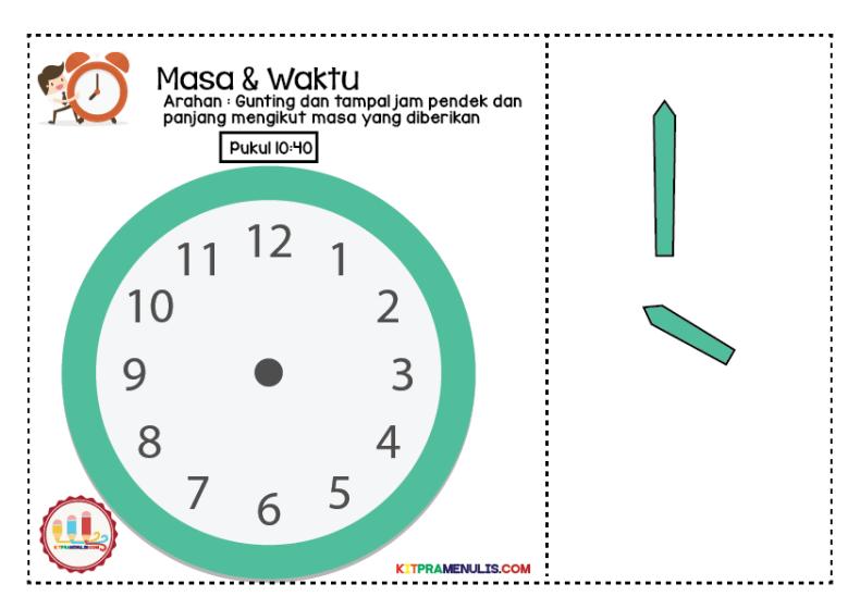 lembaran-kerja-waktu-01 Lembaran Kerja Masa Dan Waktu   Tampal Jarum Jam 10:00 Hingga 10:55