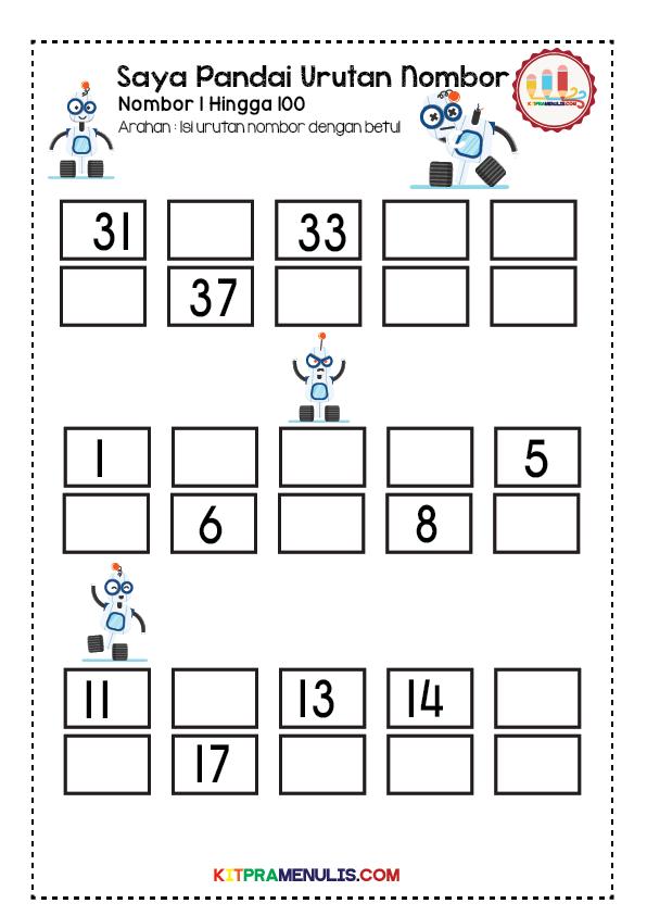 latihan-urutan-1-hingga-100-01 Latihan Matematik Pendidikan Khas Urutan Nombor 1 Hingga 100