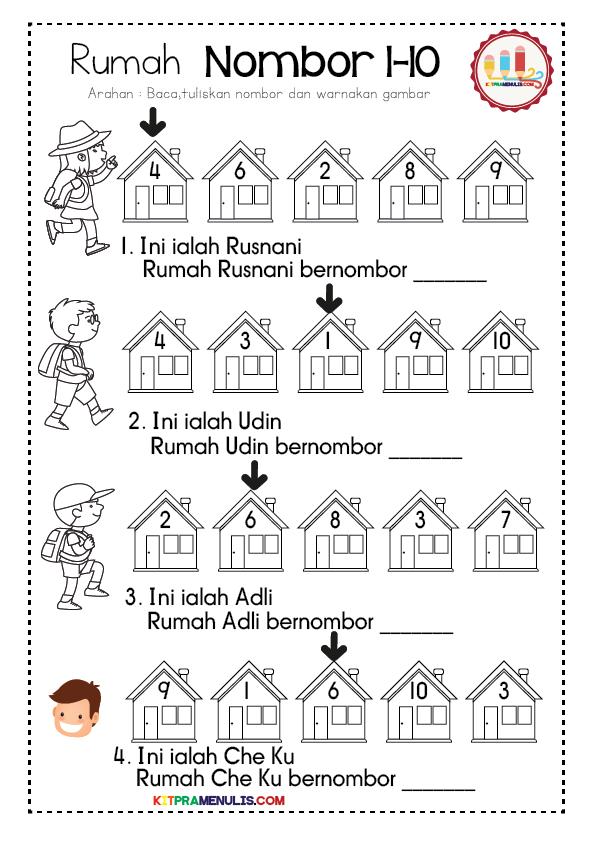 lembaran-kerja-prasekolah-matematik-01 Lembaran Kerja Mengenal Nombor 1 Hingga 10 Tema Rumah