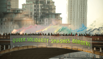 LGBT Group In London Drops Solidarity Banner Over Vauxhall bridge