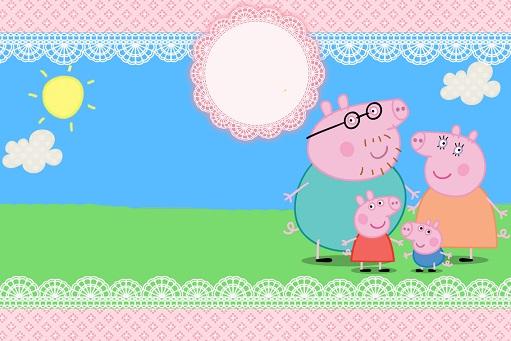Imágenes de Peppa Pig para etiquetas, invitaciones, tarjetas