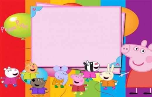 Imágenes de Peppa Pig para invitaciones,stickers, marcos para fotos, tarjetas