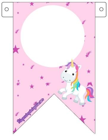 banderin unicornios - molde unicornios banderin