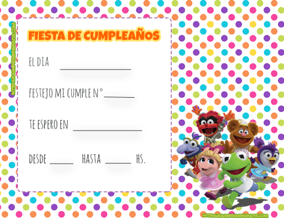 Tarjetas de muppets babies invitaciones cumpleanos