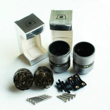 SONARQUEST Gray Aluminum metal Silver-Plated AG US Power Plug & IEC Connector