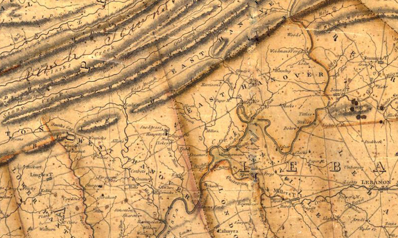 An almost 3-D map rendering from 1822 of the Kittatinny Ridge and environs in northern Lebanon County. Credit Lebanon County Historical Society