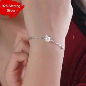925 Sterling Silver Imitation Pearl Cat Charm Bracelet Hypoallergenic Jewelry