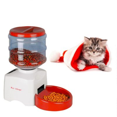 5.5L Automatic Pet Feeder with Voice Message Recording and LCD Screen Food Bowl Dispenser