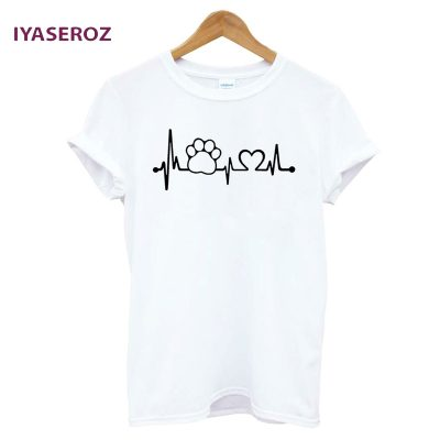 Paw Heartbeat Lifeline Casual Funny Unisex Top Tees