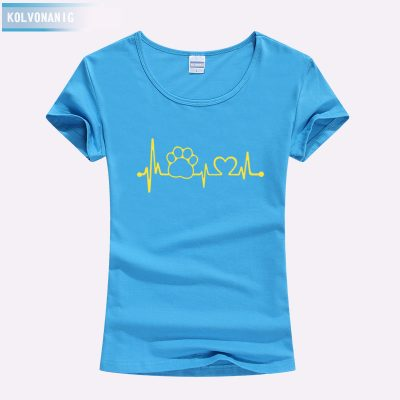 Paw Heartbeat Lifeline Dog Cat Slim Funny T Shirt For Ladies - Blue