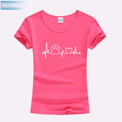 Paw Heartbeat Lifeline Dog Cat Slim Funny T Shirt For Ladies - Rose Red